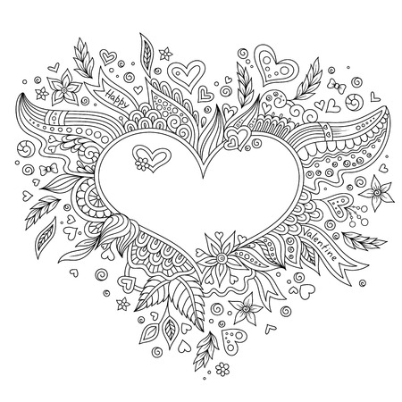 Coloring page flower heart St Valentine's day greeting card hand made print digital art. Coloring page with details isolated on white background . Doodle pattern for relax and meditation.