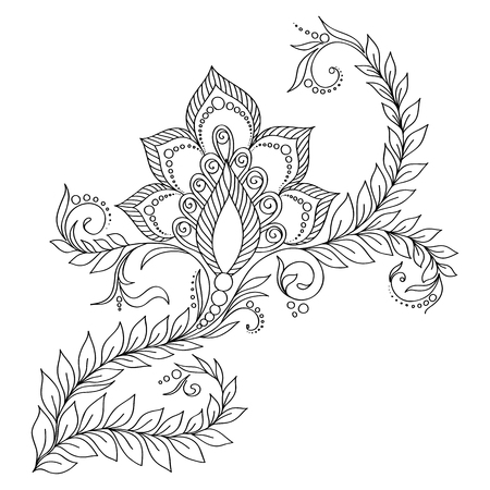 Pattern for coloring book. Coloring book pages for kids and adults. Abstract floral elements in indian style. Henna Mehndi Tattoo Style Doodles