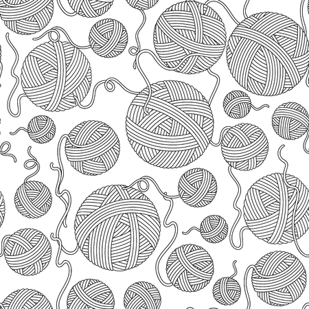 Seamless pattern for coloring book. Hand-drawn decorative ...