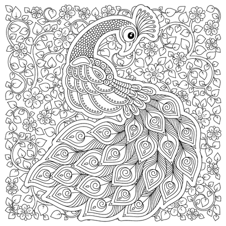 Illustration pour Peacock. Adult antistress coloring page. Black and white hand drawn doodle for coloring book - image libre de droit