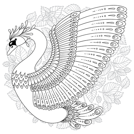 5c9cdb756 Hand drawing artistic Swan for adult coloring pages in doodle, tribal  style, ethnic ornamental