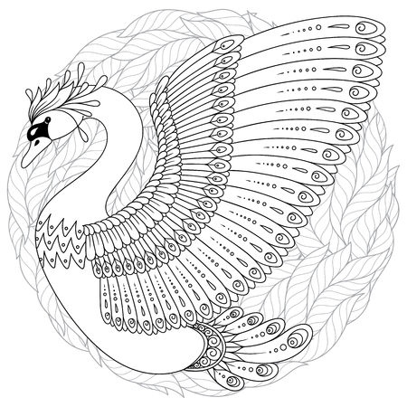 Hand drawing artistic Swan for adult coloring pages in doodle ...