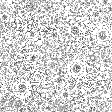 Illustration pour Pattern for coloring book. Pages for kids and adults. Henna Mehendy Tattoo Doodles Seamless Pattern - image libre de droit
