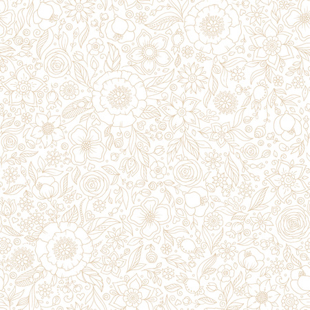Illustration pour Seamless vector floral pattern, spring/summer backdrop. Hand drawn surface design with flowers in garden. Seamless texture can be used for wallpapers, pattern fills, surface textures. - image libre de droit