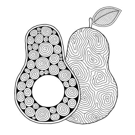 Illustration for Line art avocado drawing for printing on stuffs and adult coloring book or coloring page.   - Royalty Free Image