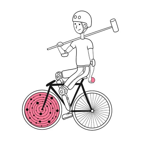 Illustration pour Polo bike player with bat and ball.. Can be used as a print on a t-shirt, coloring page for adults.  - image libre de droit