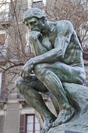 The Thinker, (copy)famous statue by Auguste Rodin In Barcelona Spain.