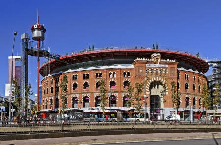 Bullring Arenas on Spain Square  Of traditional neo-Mudejar style  New shopping center in Barcelona  Inside is a museum of rock and roll  Opened in June 1900  Barcelona, Catalonia, Spain