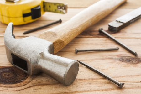 carpenter tools  hummer, tape measure, ruller and nails