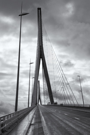 The bridge Pont de Normandie crosses the Seine river near Le Havre