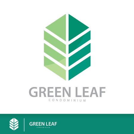 Green leaf condominium logo template design elements, Real Estate symbols icon. vector illustration, Sustainability construction concept