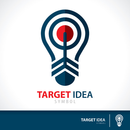 Arrow hit target in light bulb shape symbol icon. Hit the inspiration concept. Vector illustration. Logo template design for corporate business