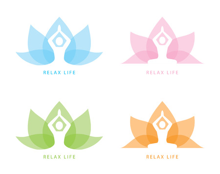 Human yoga shape in abstract lotus symbol