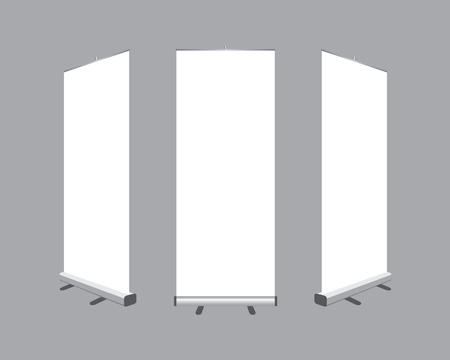 Set of Blank roll up  banners display template isolated on gray background. Vector illustration. Mockup for designのイラスト素材