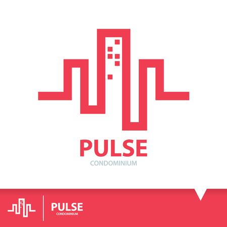 Abstract red pulse in condominium shape. Logo elements template design. Real estate symbols icon. Vector illustration, Construction concept