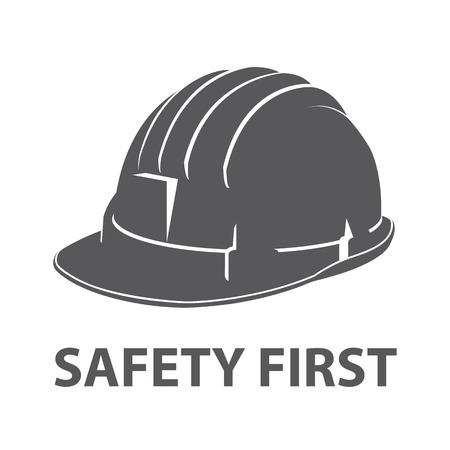 Safety hard hat icon symbol isolated on white background. Vector illustration