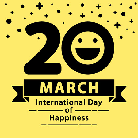 Illustration pour International Day of Happiness background.  Minimal and flat design. - image libre de droit
