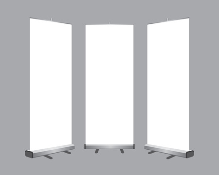 Illustration for Set of Blank roll up banners display template isolated on gray background. - Royalty Free Image