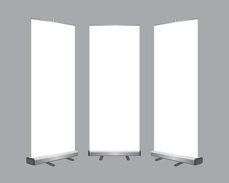 Ilustración de Set of Blank roll up banners display template isolated on gray background. - Imagen libre de derechos