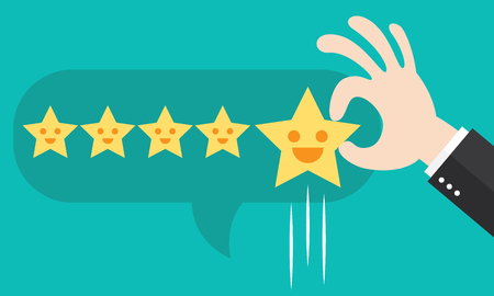 Customer review give a five star in bubble box. Positive feedback concept. illustration. Minimal and flat design