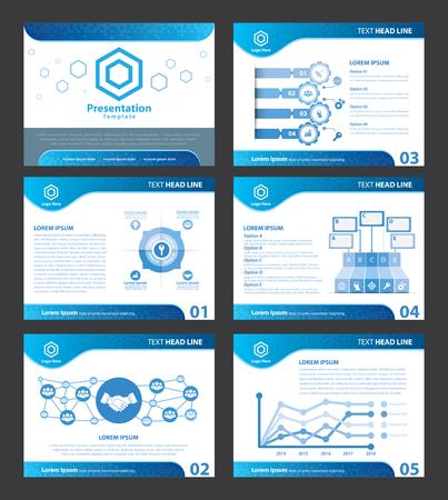 Illustration pour Abstract Blue presentation templates. Vector illustration. Cover flat layout of  infographic elements design set for brochure, flyer, leaflet, marketing, advertising - image libre de droit