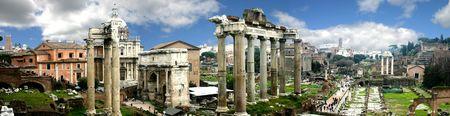 Panoramic of Rome Forum, Italy