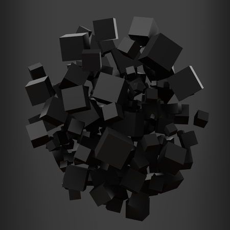 elegant black cubes. 3d style vector illustration.
