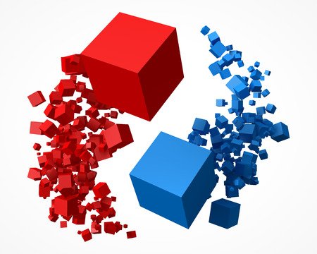 Photo pour flock of red and blue cubes, rotating around each other. - image libre de droit
