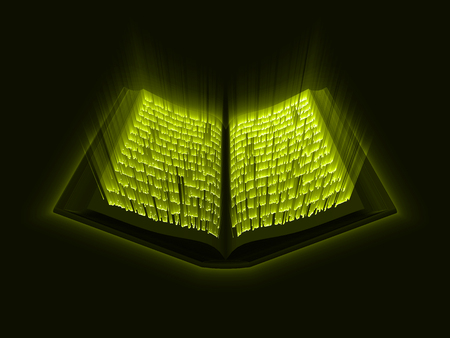 Illustration pour Quran kareem. the sacred book of islam. glowing arabic text with light rays. suitable for ramadan, islam and book themes. 3d style vector illustration. - image libre de droit