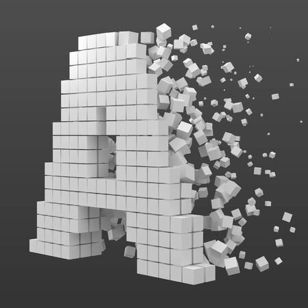 letter A shaped data block. version with white cubes. 3d pixel style vector illustration. suitable for blockchain, technology, computer and abstract themes.