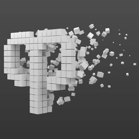 aries zodiac sign shaped data block. version with white cubes. 3d pixel style vector illustration. suitable for blockchain, technology, computer and abstract themes.