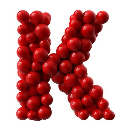 Illustration pour letter K with red colored shiny balls. realistic vector illustration. suitable for typewriting, alphabet or letter usage. - image libre de droit