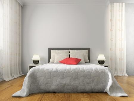 Photo pour Bedroom in contemporary style 3d rendering - image libre de droit
