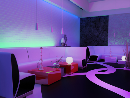 Photo pour place to relax in a nightclub, 3d rendering - image libre de droit