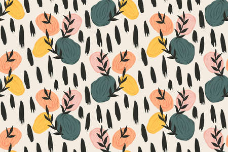Illustration pour Stones and leaves abstract vector pattern. Great for home decor, fabric, wallpaper, gift-wrap, stationery and packaging design projects. - image libre de droit