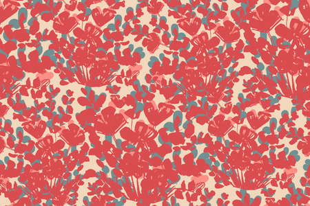 Abstract flower gush garden seamless vector pattern.Painted flowers in red with pink and grey details on beige background. Great for home decor, fabric, wallpaper, stationery, design projects.