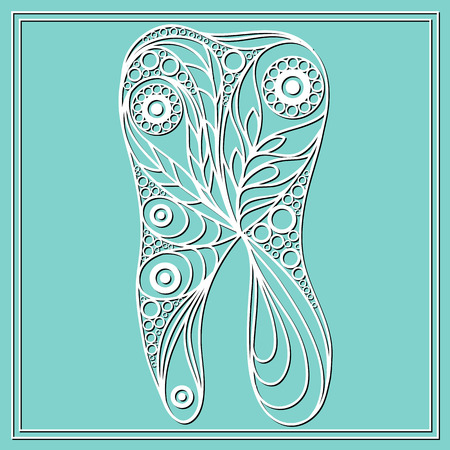 Graphic illustration of tooth in floral style. The symbol (emblem) of dentistry (stomatology).