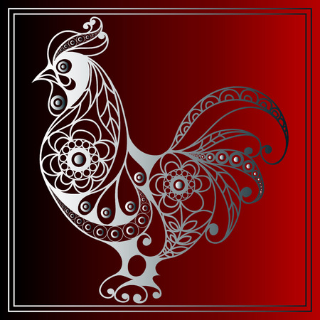Illustration pour Graphic illustration of fire cock, symbol of 2017. Suitable for invitation, flyer, sticker, poster, banner, card,label, cover, web. Vector element for New Year's design. - image libre de droit
