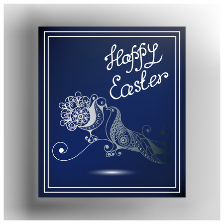 Graphic abstract decorative pigeons on the branch (symbol of the Easter holiday). Suitable for invitation, flyer, sticker, poster, banner, card,label, cover, web. Vector illustration.