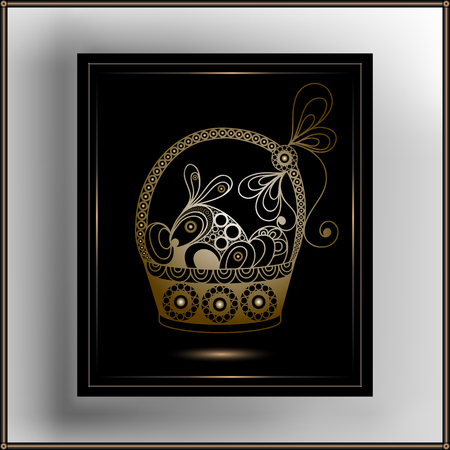 Graphic abstract decorative basket with eggs and rabbit (symbol of the Easter holiday). Suitable for invitation, flyer, sticker, poster, banner, card,label, cover, web. Vector illustration.