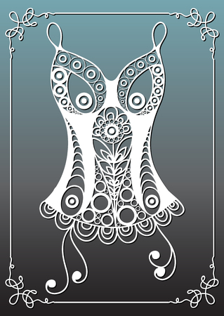 Graphic abstract decorative underwear (lingerie)-corset. Suitable for invitation, flyer, sticker, poster, banner, card,label, cover, web. Vector illustration.