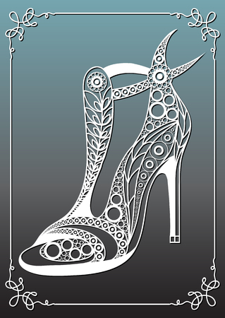Graphic abstract decorative shoes (footwear)-sandals. Suitable for invitation, flyer, sticker, poster, banner, card,label, cover, web. Vector illustration.