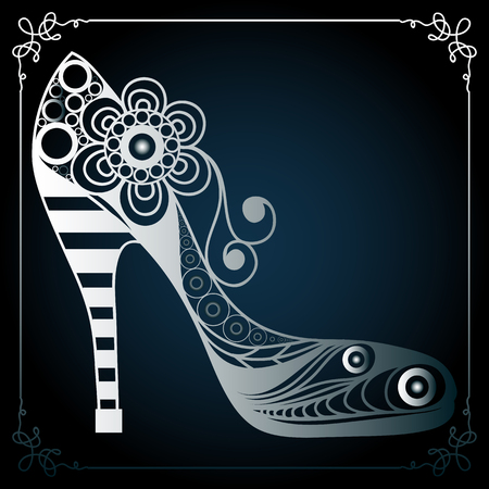 Graphic abstract decorative shoes (footwear). Suitable for invitation, flyer, sticker, poster, banner, card,label, cover, web. Vector illustration.