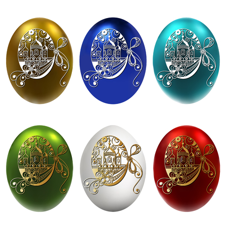 Graphic abstract decorative eggs (symbol of the Easter holiday)-set. Suitable for invitation, flyer, sticker, poster, banner, card, label, cover, web. Vector illustration.