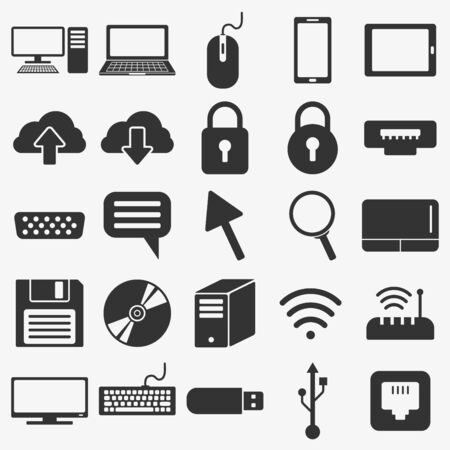 Photo pour Solid flat style computer icons and symbols, mobile phone, computer network, peripheral symbols - image libre de droit