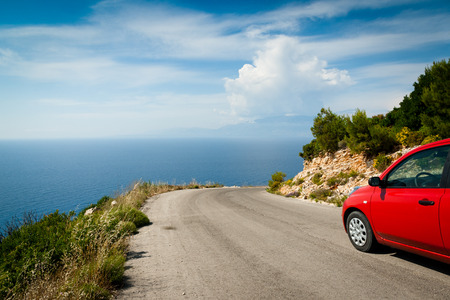 Road in mountain along coast  greek island, Zante