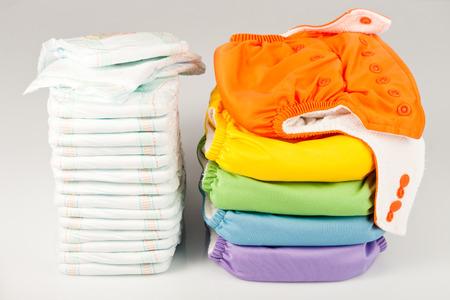 Photo pour Eco friendly diapers and diapers - image libre de droit