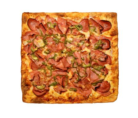 top view of a square pizza isolated on a white background