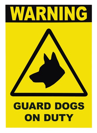 Yellow black triangle Warning Guard Dogs On Duty Text Sign, isolated