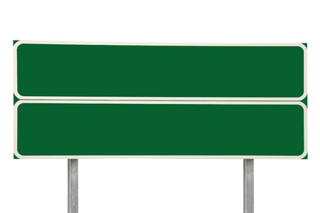 Two Crossroads Road Signs, Green Isolated